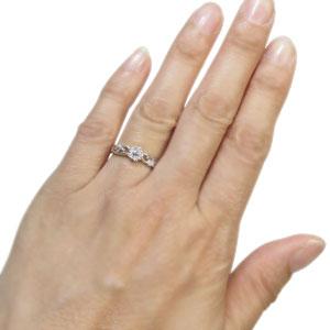 プラチナ・ダイヤモンド・花・エンゲージリング・フラワー・婚約指輪