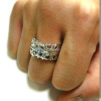3月誕生石アクアマリン・プラチナ・リング・メンズ・指輪