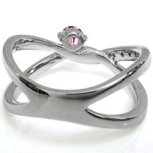 指輪 ピンキーリング プラチナ ピンクトルマリン リング V字 リング