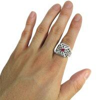 【送料無料】クロスリング・ルビー・百合の紋章・唐草・18金・指輪【RCP】P08Apr16