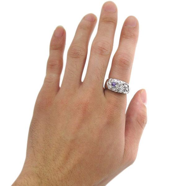 アメジスト スカル バラ リング 骸骨 メンズリング 指輪 18金