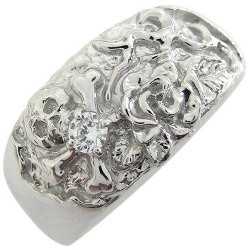 プラチナ ダイヤモンド 薔薇 ドクロリング 骸骨 リング 指輪