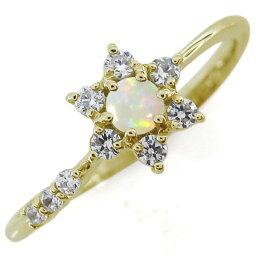 結婚記念日 オパールリング 結婚10周年 流れ星 K18 婚約指輪