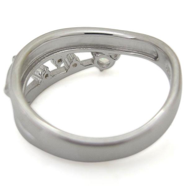 プラチナ オパール リング ピンキーリング アンティーク調 唐草 指輪