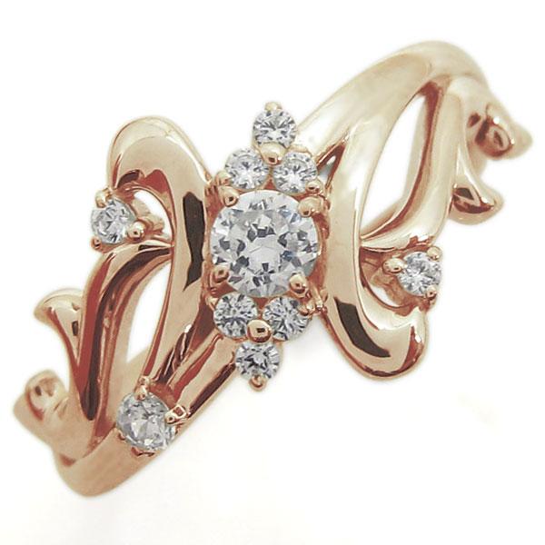 【送料無料】婚約指輪 ダイヤモンド 結婚10周年 唐草 エンゲージリング K10【RCP】10P06Aug16