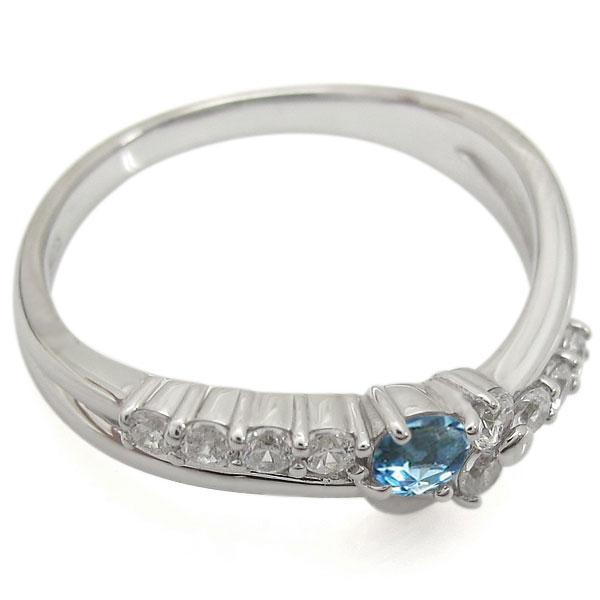 【10%OFF】11日1:59迄 プラチナリング 結婚10周年 ブルートパーズ 指輪 V字 メモリアルリング