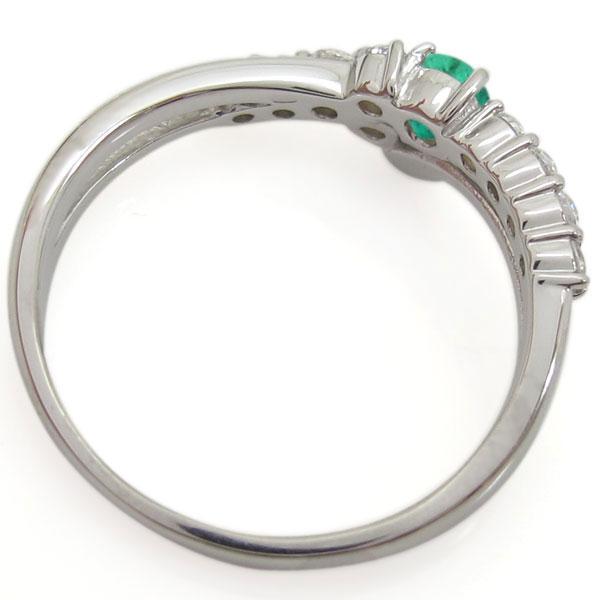 結婚10周年 ブライダルリング エメラルド エンゲージリング Vライン 婚約指輪