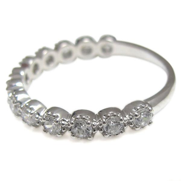 プラチナ ハーフエタニティリング ダイヤモンド エンゲージ 婚約指輪