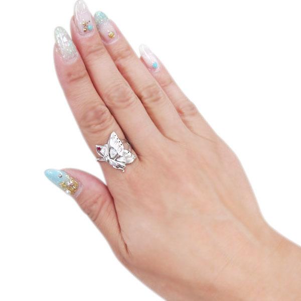 ルビー プラチナ 蝶 リング 指輪 バタフライ