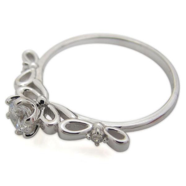 プラチナリング ダイヤモンド 婚約指輪 エンゲージリング リボン