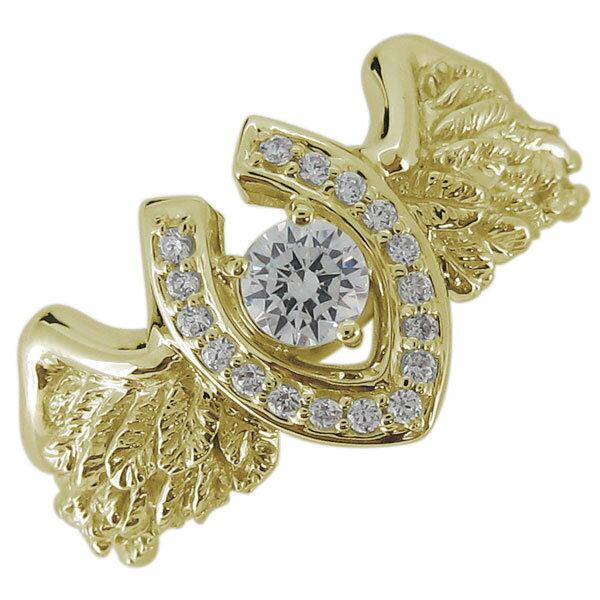 メンズ リング 馬蹄 羽根 フェザー ダイヤモンド 4月誕生石 10金 指輪