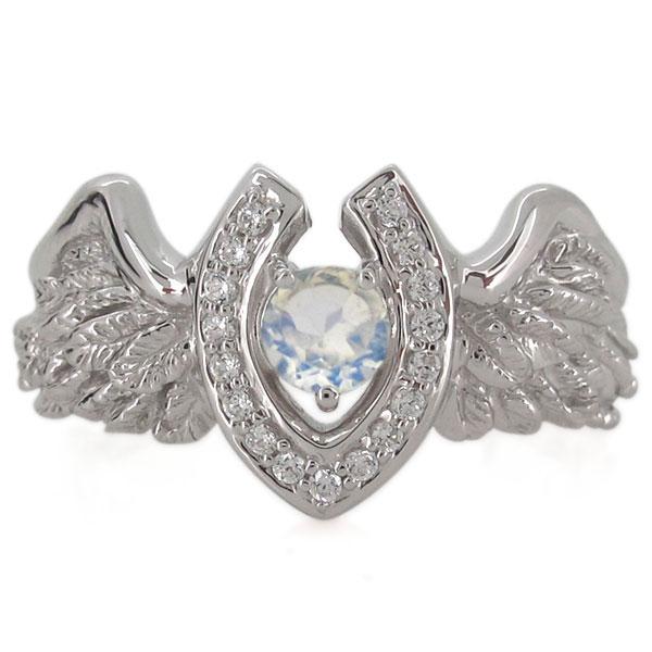 馬蹄 羽根 指輪 メンズ ロイヤルブルームーンストーンリング 18金 ホースシュー 翼
