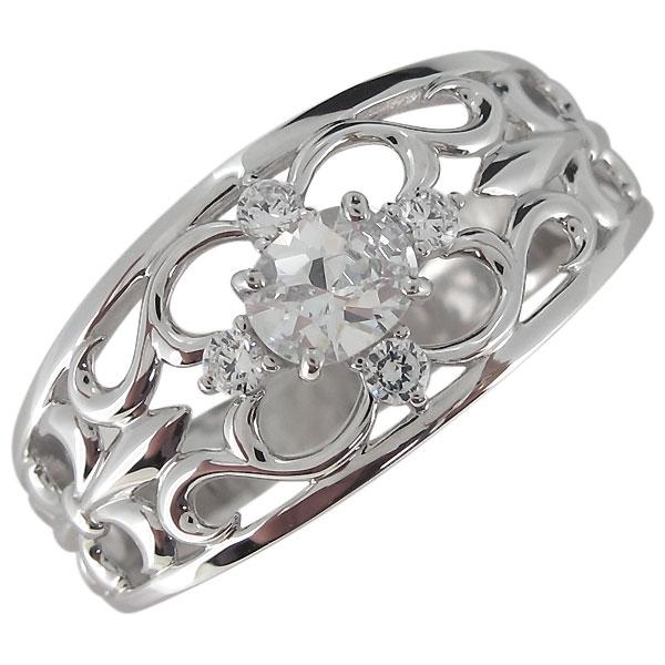 指輪・メンズ・18金・おしゃれ・キュービックジルコニアリング・百合の紋章