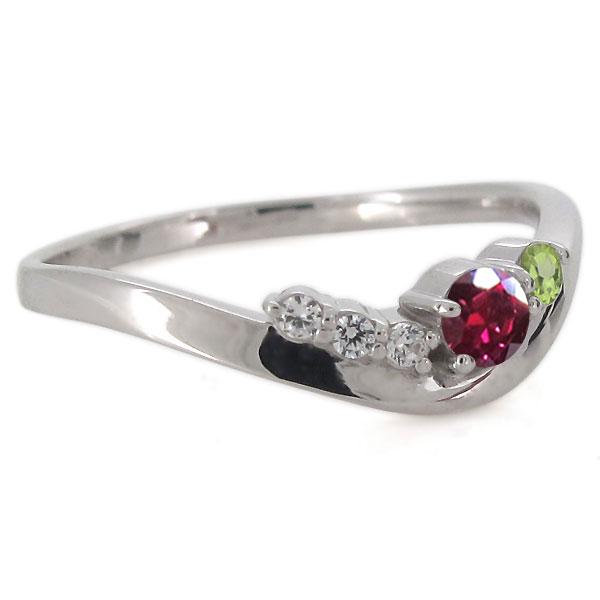 婚約指輪 プラチナ エンゲージ 天然石 ルビー シンプルリング オシャレ V字