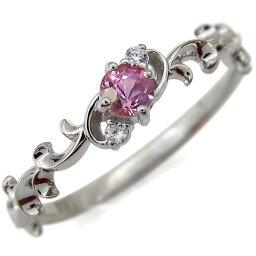 プラチナ リング 一粒 ピンクサファイア リング ファランジリング 指輪