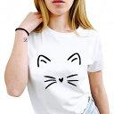 猫 Tシャツ レディース 半袖 Tシャツ ねこTシャツ ネコ かわいい おしゃれ 猫グッズ ねこグッズ ネコグッズ 白 黒 ホワイト ブラック グレー