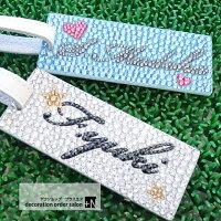 キラキラスワロフスキーゴルフネームプレート角形自分だけのオリジナルデザインでお作りします。ネームタグ刻印名入れ高級プレゼントゴルフバッグ人気名札コンペ記念品おしゃれキャディバッグキャリーバッグ