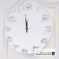 母の日にもおススメ!!掛け時計立体文字で見やすい豪華オフィスインテリアプレゼントスワロフスキーホワイトモダン白黒おしゃれ時計連続秒針静音スワロフスキー掛け時計選べるカラー