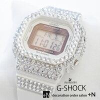 CASIOG-SHOCKカシオGショックホワイト腕時計スクエア電波ソーラーカスタムスワロフスキーキラキラプレゼントにおすすめギフト結婚祝い