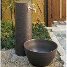 陶器の円筒水栓柱+蛇口・水受けセット