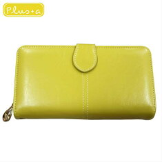 大き目財布財布黄色イエローレザー風金運財布
