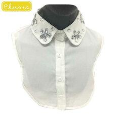 ビジュー付きラウンド付け襟付け襟付け衿シャツパールネックレス送料無料