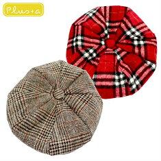 チェックベレー帽秋冬