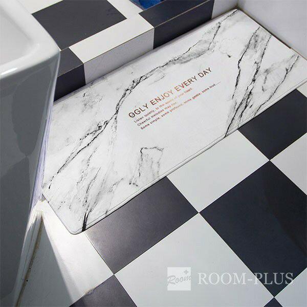 玄関マット 北欧デザイン 40cm×60cm モノトーン 大理石柄 フロアマット キッチン エントランス バスマットモダン Fmat-0102
