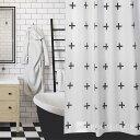 シャワーカーテン バスルーム モノトーン 白黒 ホワイト ブラックモノクロ 防カビ bath-sc0008 新生活