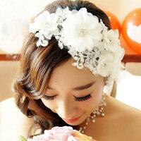 ウエディング 髪飾り ビジュー ヘッドドレス ホワイト 花 ヘアアクセサリー ピン ブライダル 花嫁 結婚式 成人式