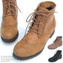 【アウトレット】ショートブーツ アンクルブーツ レースアップ ウイングチップ ローヒール ラウンドトゥ サイドファスナー フェイクレザー レディース 美脚 靴 くつ