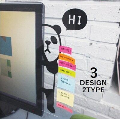 送料無料付箋ボード メモボード モニターメモボード パソコンメモボード かわいい オフィス用品 事務用品 パンダ ライオン クマ 透明ボード クリアボード