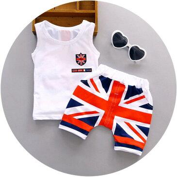 ツーピース セット ノースリーブ タンクトップ 半ズボン 短パン パンツ ボーイ 男の子 キッズ 子ども レディース 国旗 ホワイト おしゃれ かっこいい