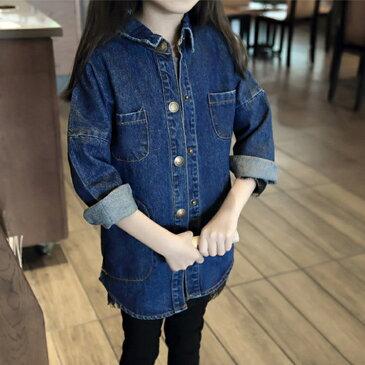 長袖シャツ デニム 羽織 ロングシャツ トップス かわいい キュート おしゃれ キッズ ジュニア ベビー 子ども 幼児 女の子 ガール 女児