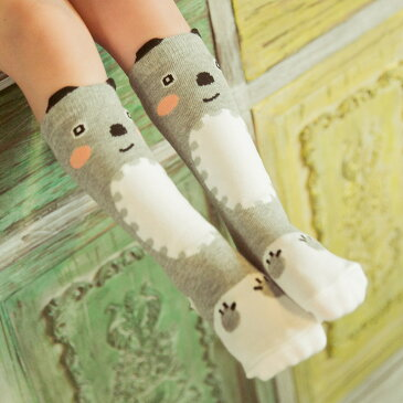 靴下 ソックス ハイソックス ロング キッズ ベビー 赤ちゃん 子供 子供用 グレー 動物 男の子 女の子 女児 新生児 ギフト おしゃれ 可愛い かわいい 0〜6歳