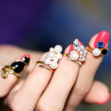 ネイルリング チップリング 指輪 ネイルチップ 指先 爪先 アクセサリー ネイルアート ネイルパーツ デコネイル デコパーツ ゴージャス 華やか おしゃれ フェイクパール ビジュー 猫 ネコ ねこ キャット クロネコ