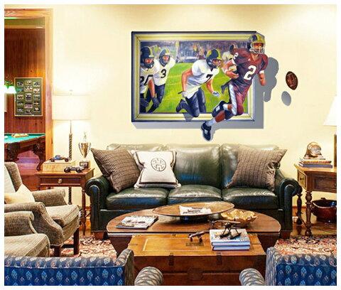 送料無料ウォールステッカー ウォールシール だまし絵 トリックアート 3D 立体的 飛び出す 壁シール 壁紙シール 壁面装飾 壁装飾 室内装飾 ラグビー スポーツ インテリア DIY リビング 寝室