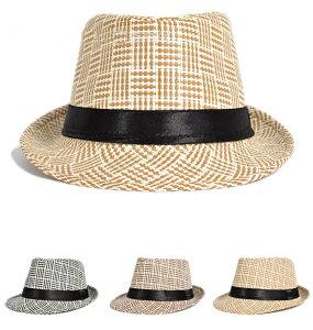 送料無料パナマ帽 中折れハット 麦わら帽子 ストローハット 中折れ帽子 パナマハット メンズ レディース 男性用 女性用 男女兼用 夏 チェック柄 格子柄 バイカラー カッコイイ 大人 カジュアル 日よけ 紫外線対策 UV対策 高級感