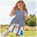 送料無料Tシャツ カットソー キッズ 子供服 女の子 ストライプ 可愛い キュート 春 夏 アップリケ 刺繍