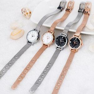 送料無料時計 腕時計 ウォッチ 女性 レディース フェミニン 華奢 細身 シンプル エレガント ゴールド シルバー