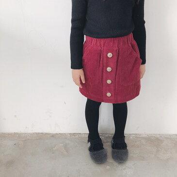 スカート 子供用 女の子 ボトムス ミニスカート コーデュロイ 無地 シンプル ボタン付き ウエストゴム 裏起毛 裏ボア 可愛い お洒落 カジュアル あったか 防寒