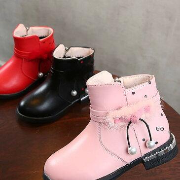 送料無料ブーツ ショートブーツ 子供用 女の子 靴 ハイカット ベルト付き ファー ボンボン ドット柄 チャーム付き ジッパー 裏起毛 お洒落 あったか 秋冬 お出かけ