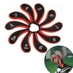 アイアンカバー ヘッドカバー トップカバー ゴルフクラブカバー ファスナータイプ ジッパー チャック 10個 セット アイアン用 番手別 番手付き 刺繍 スポーツ ゴルフ用品 シンプル ツート
