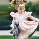 送料無料ワンピース 切り替えあり キッズ レース 半袖 フライングスリーブ ひざ上丈 プリーツ ピンク かわいい 女の子 お出かけ