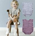 ロンパース カバーオール ノースリーブ ボディースーツ ベビー服 ボディスーツ 袖口フリル 夏 可愛い かわいい シンプル 無地 単色 ソリッドカラー 女の子 女児 ベビー用 赤ちゃん 幼児 キッズ 子供服 子ども服 こども服