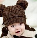 送料無料子供用 帽子 ニット帽 ボンボン付き リブニット 手編み風 ニットキャップ 赤ちゃん ベビー シン...