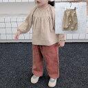 送料無料子供服 ボトムス パンツ ズボン ベビー 子ども 女男 ワイド ゆったり 太め ストレート 春 おしゃれ