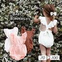 ロンパース カバーオール ノースリーブ スクエアネック 子供用 フリル ウィングスリーブ ボディスーツ ボタン シンプル 無地 単色 ソリッドカラー 可愛い かわいい 女の子 女児 ベビー服 幼児 赤ちゃん用 キッズ 子供服 子ども服 こども服 70cm