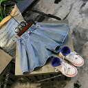 送料無料キュロットスカート キュロットパンツ デニム ジーンズ ショートパンツ 短パン フレアパンツ 子供用 キッズ ボトムス ウエストゴム カジュアル シンプル 無地 おしゃれ 女の子 女児 子供服 子ども服 こども服