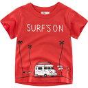 送料無料Tシャツ トップス キッズウェア 子ども服 男の子 女の子 半袖 ラウンドネック プリント ファッション 夏服 車 キャンピングカー サーフボード